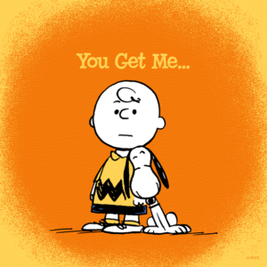 "A Smiling Snoopy leaning on Charlie Brown with the sentiment written above them, ""You Get Me."""